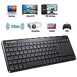VicTsing Wireless Tastatur, Touch Tastatur, USB Tastatur, QWERTZ, einfachere Lifestyle, kabellos Keyboard für PC/Smart TV//Laptop/PS4/Projector/Tablet, Deutsche Layout, Schwarz