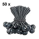 VEVIK Spanngummis mit Kugel 50 Packungen Gummispanner 10cm Ball Bungee Cord für Zelt Planen Banner