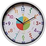 Yudou Kinder Wanduhr Mit lautlosem Uhrenwerk und Farbenfrohem Design - Bunte Lernuhr für Kinder,Junge und Mädchen-Kinderwanduhr für Kinderzimmer Klassenzimmer (30,5 cm)