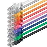 1aTTack.de Netzwerkkabel Cat.6-10-Farben - 0,5m - (Set) - CAT6 Ethernetkabel Lankabel 1000 Mbits (PoE) Patchkabel