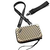 Handy Umhängetasche - Mode Damen Schultertasche Klein Geldbörse Crossbody Handtasche - Hart ABS+pc Kofferform mit Verstellbar Abnehmbar Schultergurt für Handy unter 6.5 Zoll (Stripe Gold, 7 Zoll)