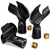 Moukey Mic Clip Universal Mikrofonclip, Mikrofonklemme Klammer Mikrofonhalter mit 5/8 Zoll Stecker auf 3/8 Zoll Buchse Schraubenmutter Adapter für Wireless und Handheld Mikrofon, 3 Stück