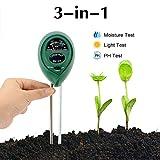 Abafia Bodentester, 3 in 1 Boden Feuchtigkeit und PH, Lichtintensität Bodentester Kein Batterien Erforderlich, Kann unter Indoor & Outdoor Verwendet Werden, für Pflanzenerde, Bauernhof