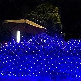 RENUS Netzlicht LED Mesh-Licht 3m x 2m 320 LEDs wasserdichte Dekorative Außenleuchte Lichterketten mit 8 Lichtmodelle für Partydekoration deko schlafzimmer,Weihnachten, Innenbeleuchtung, Blau
