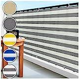 casa pura Balkon Sichtschutz UV-Schutz   90x500cm   wetterbeständiges und pflegeleichtes HDPE-Spezialgewebe   grau-weiß gestreift