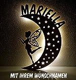 Schlummerlicht / Nachtlicht Mond-Elfe - personalisiert mit Namen - optional lackiert in Wunschfarbe und mit Zugschalter