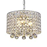 Moderne Kristall Kronleuchter,3-Licht Einbau Deckenleuchte Crystal 9.8 Zoll Durchmesser für Flur, Esszimmer, Schlafzimmer, Wohnzimmer, Küche