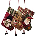 Sunbbingsp Nikolausstiefel Zum Befüllen, 3 Pcs Christmas Stockings Personalized, Nikolaus Socke Strumpf, Weihnachtsstrumpf deko für Kinder Familien Schneemann Weihnachtsmann Weihnachtsbaum