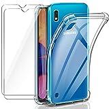 Leathlux Samsung Galaxy A10 Hülle + [2 Stück] Panzerglas Displayschutzfolie, Transparent Silikon TPU Soft Premium Case Anti-Kratzer Schock-Absorption Durchsichtig Schutzhülle für Samsung Galaxy A10