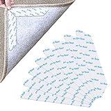 Dokpav 8 Stück Teppichgreifer Antirutschmatte, Washable Antirutschmatte Teppichunterlage Wiederverwendbar Rutschfester Teppichunterlage Teppich Aufkleber Teppichstopper Teppich Ecken (Weiß)