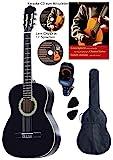 Konzertgitarre 4 4, schwarz, Rosewood Griffbrett und Brücke, Fichtendecke, Lern DVD, Karaoke CD, Songbook, gepolsterte Tasche mit Rückengarniture, 2 Stück Plectren, digitales Stimmgerät, Starter Set