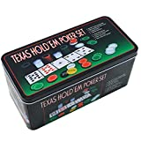 Extraela Poker-Set aus Metall, 200 Pokerchips, 2 Abdeckungen, Verteilerknopf, kleiner Blind, großer Blind, Spielmatte