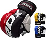 RDX MMA Handschuhe Profi UFC Kampfsport Sparring Freefight Sandsack Trainingshandschuhe Grappling Gloves (L, Rot)