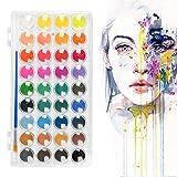 TIMESETL 36 Farbe Wasserfarben Malset, Wasserfarben Malkasten mit 36 Wassermalfarben mit Pinsel, Wasserfarben-Pinselstift und Mischpalette, Ideal für Aquarellmalerei Anfänger, Profis und Künstler