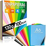 100 Blatt TONPAPIER - Buntes Papier DIN A6-130g/m² Set 20 Farben – Stabil Bastelpapier & Farbige Blätter, Kinder & DIY Bogen, Zubehör zum Basteln für Fotoalbum Geschenke zum Kreativ sein Bedruckbar