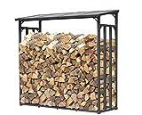 QUICK STAR Metall Kaminholzregal Anthrazit 143 x 70 x 145 cm Garten Kaminholzunterstand 1,4 m³ / 2 Schüttraummeter Kaminholzlager Stapelhilfe Aussen
