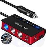 OOWOLF KFZ Zigarettenanzünder Verteiler QC 3.0, [7 in 1] Zigarettenanzünder Splitter USB 180W 12V/24V, 4 USB-Anschlüsse 3 DC Steckdose mit getrenntem Schlater, für iPhone, Cam, SatNavi (Rot)