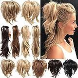Clip in Extensions Pferdeschwanz Haarverlängerung mit Jaw Claw Ponytail Amzing Form Anpassen Hochsteckfrisur Haarteil für Frauen Ombre 30cm Sandbraun mix Bleichmittel Blond