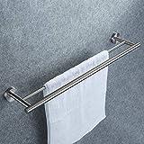 Doppelter Handtuchhalter, Dailyart Badezimmer Handtuchstange Bad Ohne Bohren für Wandmontage 70cm - Handtuchhalter zum Kleben Einfache Montage Edelstahl Gebürstet
