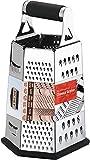 [6 Seite ] Reibe - Edelstahl Vierkantreibe - 24 cm Höhe - Lebensmittelreibe für Hart- & Weichkäse, Gemüse, Ingwer, Zitrone, Orange, Nüsse von KICHLY