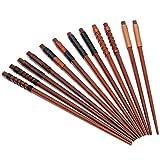 6 Paar Essstäbchen Japanische Natur Chopsticks aus umweltfreundlichem hölzernen in edler Schatulle Geschenkbox (6 Paar)