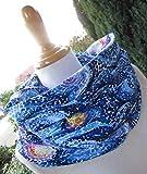 STERNENNACHT blauer Schal mit tollem Muster Loop-Schal aus weichem Sweat Geschenk z. Geburtstag Muttertag