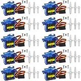 Miuzei SG90 9G Micro Servo Motor für RC Robot Arm/Hand/Gehen Hubschrauber Boot Flugzeug Helikopter Auto Fahrzeugmodelle Steuerung mit Kabel, Mini Micro Arduino Motor Servos Modellbau (10 *Blau)