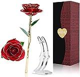 24K Gold Rose,Ewige Rose Handgefertigt Konservierte Rose mit Stand und Geschenkbox für Frau Freundin/Muttertag/Geburtstag/Hochzeitstag/Künstliche Echt Rose