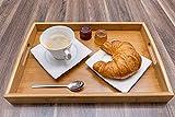 Momex Serviertablett aus Bambus, Holztablett mit Griffen rechteckig zum servieren von Kaffee, Tee, Frühstück 40cm x 28cm
