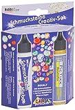 Kreul 49605 - Schmucksteine Kreativ Set, 500 bunte, runde Steine, 29 ml Schmucksteinkleber, 29 ml PicTixx Metallic Pen gold und 8 Motivvorlagen