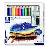 STAEDTLER Aquarell Set, Komplett-Set mit 3 Premium Aquarell-Bleistiften, 12 Aquarell-Farbstiften, 1 Wasserpinsel, 1 Radierer, 1 Metall-Spitzer und Step-by-Step Anleitungen, 61 14610C