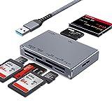 ceuao USB 3.0 SD Kartenleser, 7 in 1 Aluminium Kartenlesegerät, Card Reader mit paraller Auslesungsfunktion, USB Adapter für SD, CF, Micro SD, SDHC, SDXC, Micro SDHC, MS Pro usw