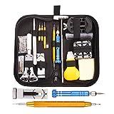 GUSODOR 147Pcs Uhrenwerkzeug Reparatur Set, Fachleute Batteriewechsel Werkzeug für Uhren, Uhrmacher Werkzeugsatz Uhren Gehäuseöffner Uhrenkit