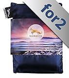 Silkrafox for 2 - ultraleichter Schlafsack für 2 Personen, Hüttenschlafsack, Inlett, Sommerschlafsack, Kunst- Seidenschlafsack. Blau