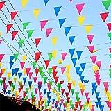 TK Gruppe Timo Klingler XXL Wimpelkette Stoff 100 Meter bunt Girlande Banner Fahne zum Aufhängen Indoor & Outdoor Draußen als Deko Dekoration für Feste, Party & Geburtstage UVM.