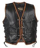 Rocker Weste mit orangen Kordeln, Bikerweste an den Seiten geschnürt, Motorrad Weste, Kutte, Lederkutte, Clubweste, Weste für Club Logos, (2XL)