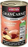 animonda GranCarno Hundefutter Adult Sensitiv, Nassfutter für ausgewachsene Hunde, Reines Huhn + Kartoffeln, 6 x 400 g