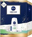 NIVEA Kleine Auszeit Geschenkset, Pflegeset mit Pflegedusche, Tagespflege, Lippenpflege und Duschschwamm, schönes Geschenk als Dankeschön