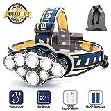 Stirnlampe,8 LED 18000 Lumen Kopflampe,Superheller USB Wiederaufladbare Wasserdicht Leichtgewichts Stirnleuchte für Camping,Fischen,Laufen,Joggen,Wandern,Lesen,Arbeiten
