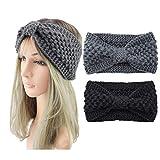 Alyphiin Stirnband Damen Herbst Winter Häkeln Gestrickt Haarband Damen Bogen Dehnbares Haarbänder Mädchen mit Knoten 2 Stück