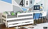 WNM Group Kinderbett, Jula Tandembett mit Schubladen und Zwei Lattenroste