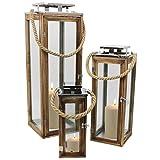 Multistore 2002 3tlg. Laternen-Set H34/50/70cm mit Seil Henkel Natur/Silber Laterne Holzlaterne Kerzenhalter Windlicht