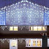 300LED 6M Eiszapfen-Lichterketten, Fenstervorhang Eiszapfen-Lichterketten, weißes Kabel, Eiszapfen-Lichterketten für Hausgarten-Traufe Außen-Innenwanddekorationen (Kaltes Weiß)