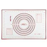 Nifogo Silikonmatte Silikon Backmatte Baking Mat BPA frei Nonstick mit Messungen Fondant Teig Gebäck Backmatte, 60 * 40cm (Rot +Teigschneider)