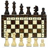 Amazinggirl Schachspiel Schach Reise Taschenschach aus Holz 20 cm - Reiseschach Travel Pocket Chess Set klappbar Mini Schachbrett mit Schachfiguren