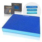 High Pulse® XXL Balance Pad mit Noppen inkl. 3X Fitnessbänder + Poster – Balancekissen mit Akupressurnoppen für EIN verbessertes Gleichgewicht, Koordination und Stabilität (Blau | Noppen)