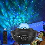 LED Sternenhimmel Projektor Lampe, Starry Music Projector mit Fernbedienung, Bluetooth Lautsprecher, 360°Drehen, 3 Helligkeitsstufen für Kinder Erwachsene Zimmer Dekoration, Galaxy Nachtlicht
