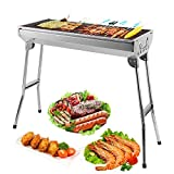Uten Camping Grill Picknickgrill BBQ Grill Tragbarer Rost Klappgrill Holzkohlegrill Edelstahl Barbecue Holzkohle Grill für BBQ Party Garten Camping ca. 74 x 33 cm Grillfläche (Groß)