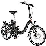 AsVIVA E-Bike 20', Faltrad (15,6Ah Samsung Akku), Klapprad, 7 Gang Shimano Kettenschaltung, Bafang Heckmotor, Scheibenbremsen, schwarz
