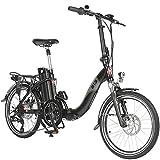 AsVIVA E-Bike Elektro Faltrad B13 mit 36V 15,6Ah Samsung Akku, extrem kompakt | 20' Klapprad mit 7 Gang Shimano Kettenschaltung, Bafang Heckmotor, Scheibenbremsen | Elektrofahrrad schwarz